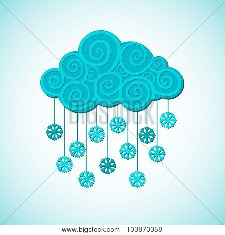 Vector cloud and snow winter weather illustration