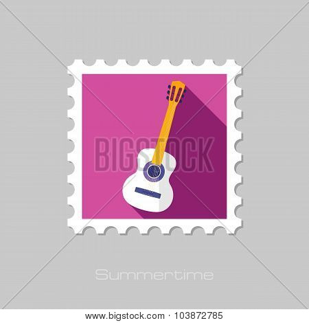 Guitar Beach flat stamp with long shadow