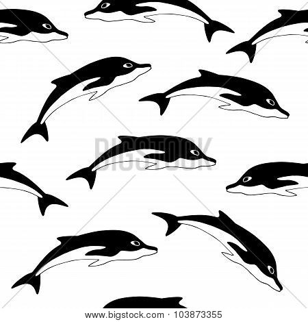 Dolphins Hand Drawn Seamless Pattern