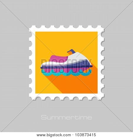 Jet Ski flat stamp with long shadow