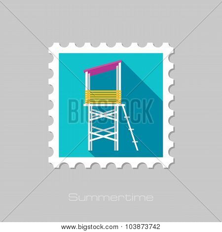 Lifeguard tower flat stamp with long shadow