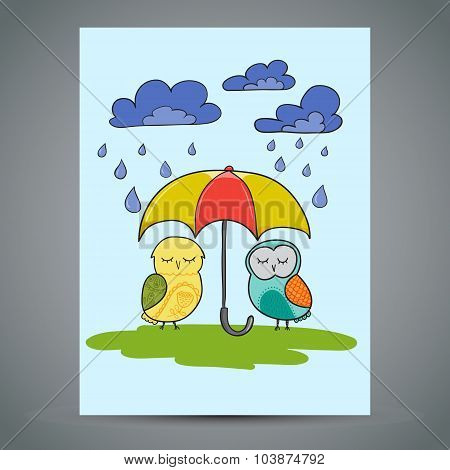 Greeting Card Two Cute Owls With Umbrella. Doodle Vector Illustration
