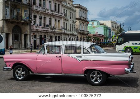 Classic American Car Park On Street In Havana,cuba