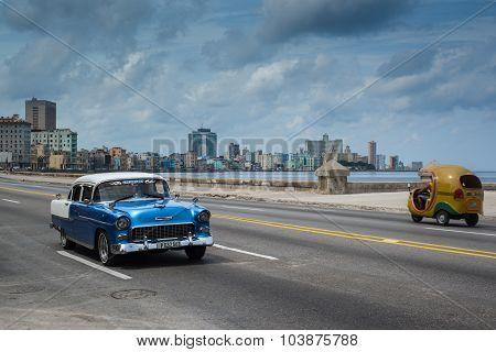 Classic American Car Drive On Street In Havana,cuba