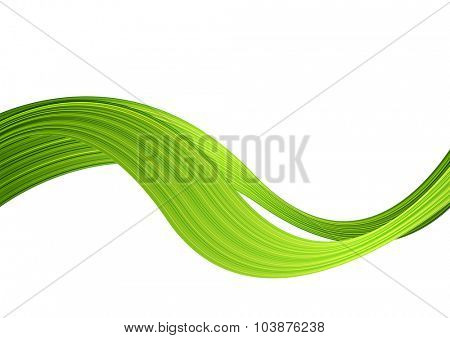 Green striped abstract wave. Vector illustration