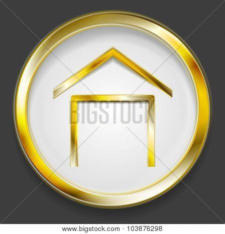 Concept golden house symbol logo. Vector design