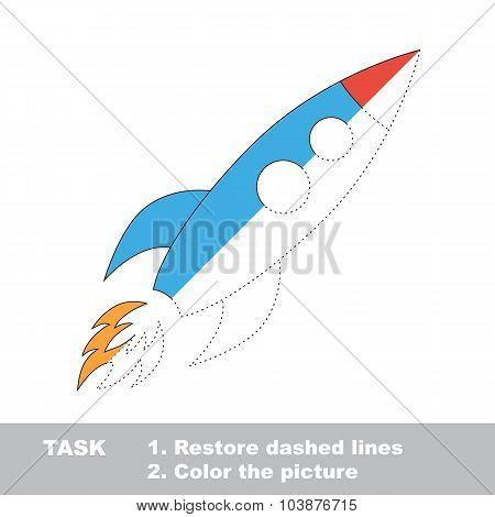 Trace game. Vector rocket to be colored.