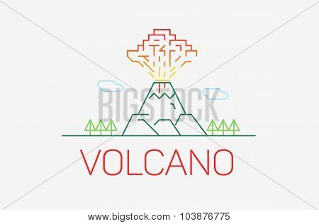 Volcano Exploding Icon Thin Line Icon, Modern Minimalistic Flat Design With Logo Elements. Vector Il