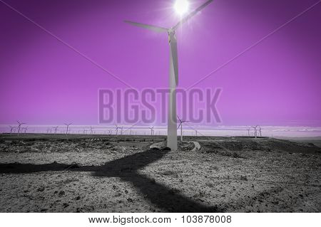 Wind turbine against sun, windmill farm and pink sky