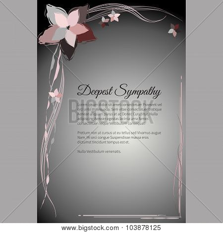 Deepest Sympathy Vector Funeral Card With Elegant Abstract Floral Motif