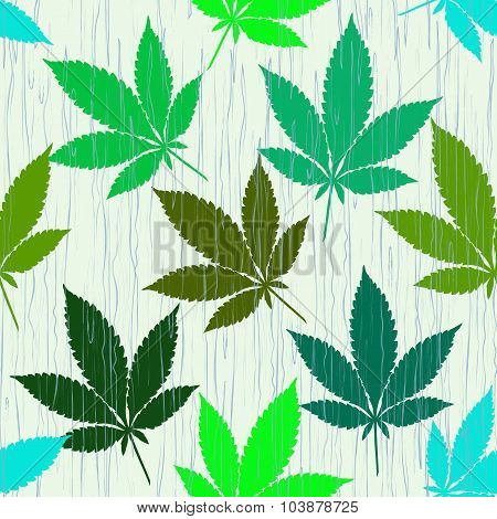 Seamless Pattern With Colorful Marijuana Leaves In The Rain