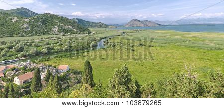 panorama Crmnica River flows in Lake Skadar, Montenegro