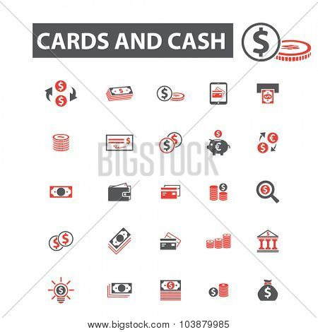 cards, cash, money icons