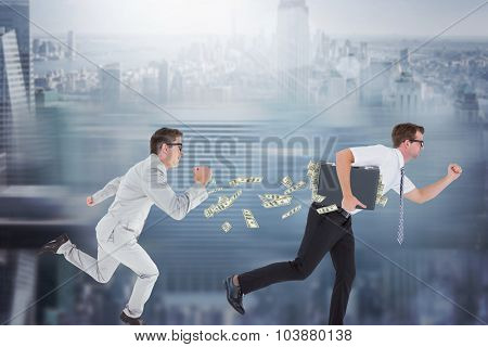 Geeky happy businessman running mid air against room with large window looking on city