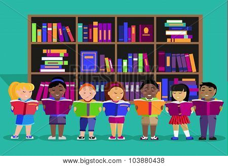 Other Children Read Books in Library