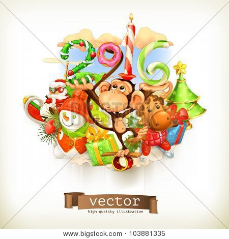 New Year, monkey vector illustration