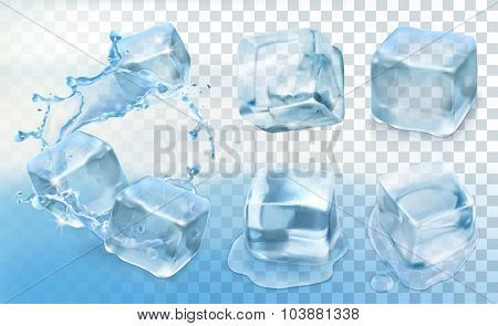 Ice cube, vector set with transparency