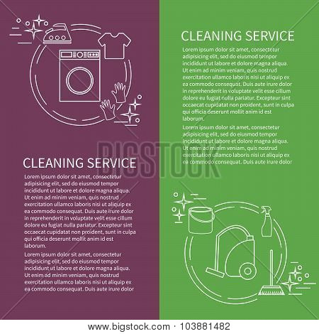 Two Flyers, Card With Clening Service Icon. Vector Template With Sample Text For Cleaning Company.
