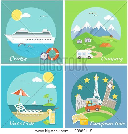 Set Concept Vacation Camping Cruise