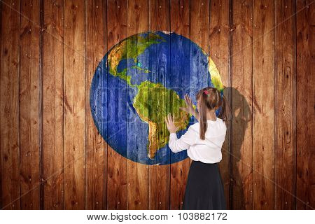 Earth  ball texture on  wood background