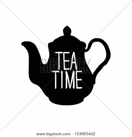 Teapot. Tea time. Black pattern on white background.
