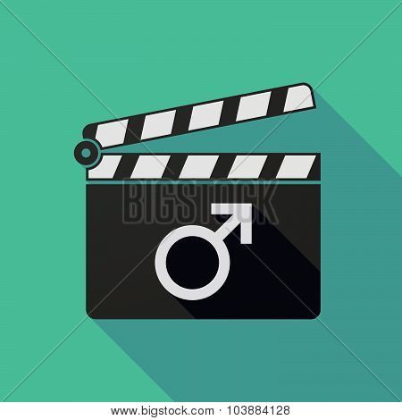 Long Shadow Clapper Board With A Male Sign