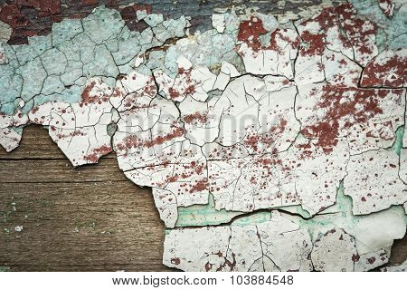 Grunge wood with peeling paint close up photo, nice texture or background for your projects