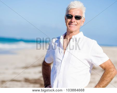Handsome man on the beach