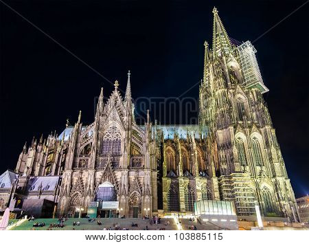 Night View Of Cologne Cathedral - Germany, North Rhine-westphalia