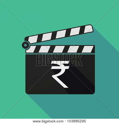Long Shadow Clapper Board With A Rupee Sign