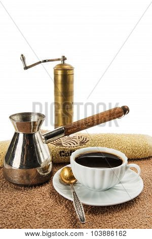 The Coffee Grinder, Coffee Pot, Cup With Black Coffee
