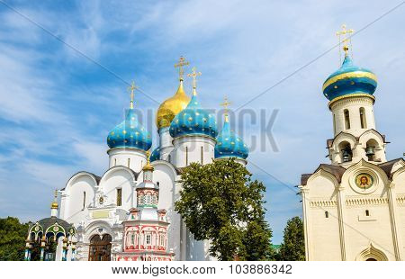 Church Of The Holy Spirit And Assumption Cathedral At Troitse-sergiyeva Lavra