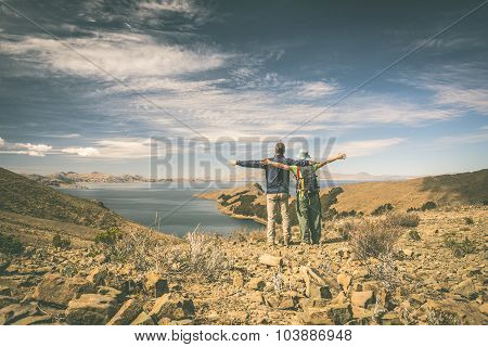 Couple On Island Of The Sun, Titicaca Lake, Bolivia