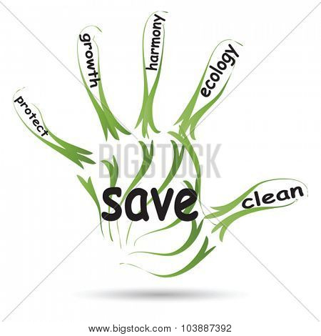 Vector conceptual abstract green ecology, conservation word cloud text in man hand or handprint on white background