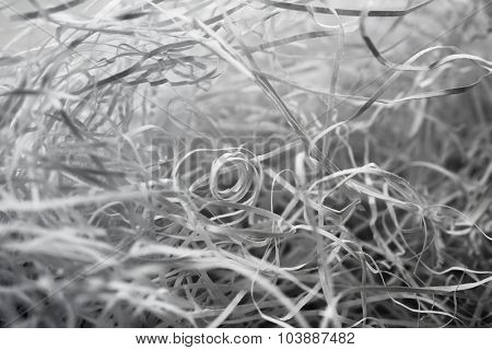 Shredded paper abstract background. Shallow depth of field.