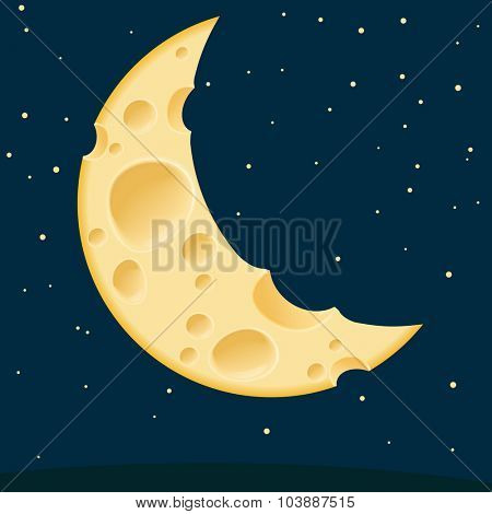 Cheese moon. Vector template.