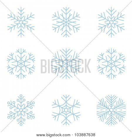 Thin line vector snowflakes.