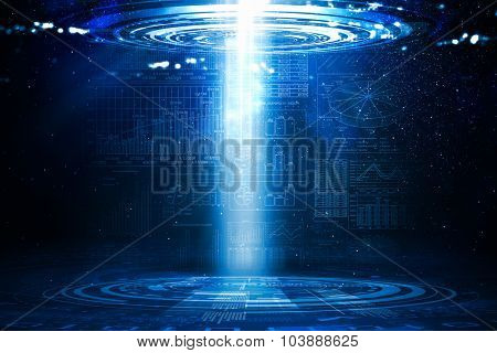 Background image with light portal coming from sky
