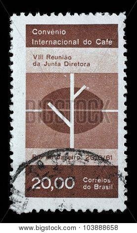 BRAZIL - CIRCA 1961: A stamp printed by Brazil shows International Coffee Convention, Rio de Janeiro, circa 1961.