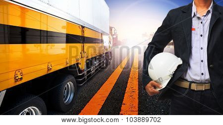 Working Man And Container Truck Use For Land Transport,industry Logistic Business ,people In Occupat