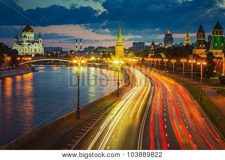 Traffic in Moscow near Kremlin