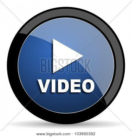 video blue circle glossy web icon on white background, round button for internet and mobile app