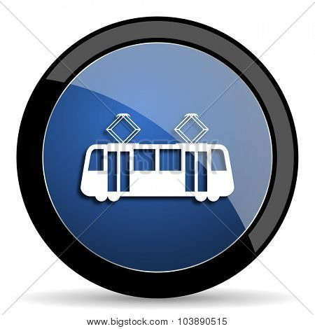 tram blue circle glossy web icon on white background, round button for internet and mobile app
