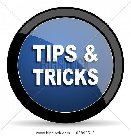 tips tricks blue circle glossy web icon on white background, round button for internet and mobile app