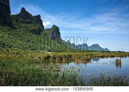 Scenic Landscape Of Mountain And Lake