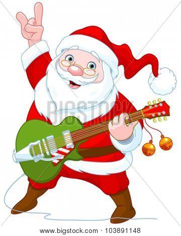 Illustration of cute Santa Claus plays guitar