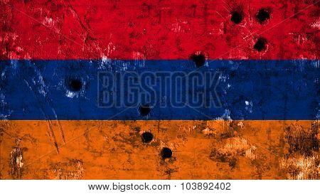 Flag of Armenia, Armenian flag painted on wall with bullet holes