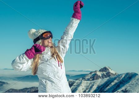 Happiness female stay on the top of mountain with beautiful view