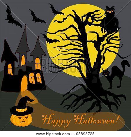 House Halloween Haunted Tree Owl Bat Pumpking Card Banner