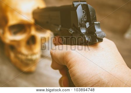 Gun And Skull, Still Life.